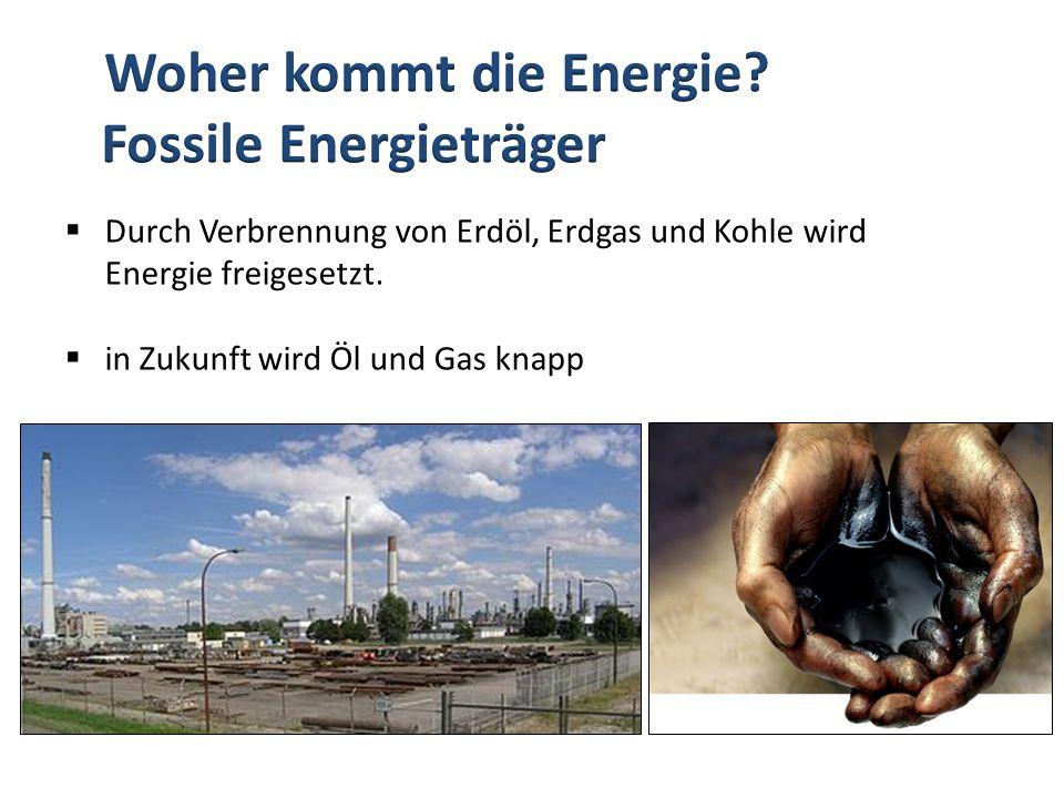 Durch Verbrennung von Erdöl, Erdgas und Kohle wird Energie freigesetzt. in Zukunft wird Öl und Gas knapp