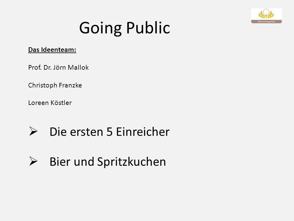 Going Public Bier und Spritzkuchen Die ersten 5 Einreicher Das Ideenteam: Prof. Dr. Jörn Mallok Christoph Franzke Loreen Köstler