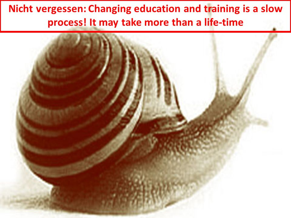 28 Nicht vergessen: Changing education and training is a slow process! It may take more than a life-time