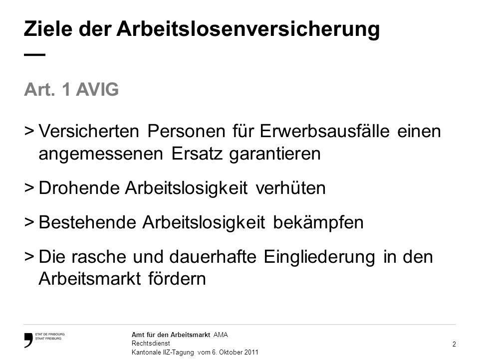 2 Amt für den Arbeitsmarkt AMA Rechtsdienst Kantonale IIZ-Tagung vom 6.