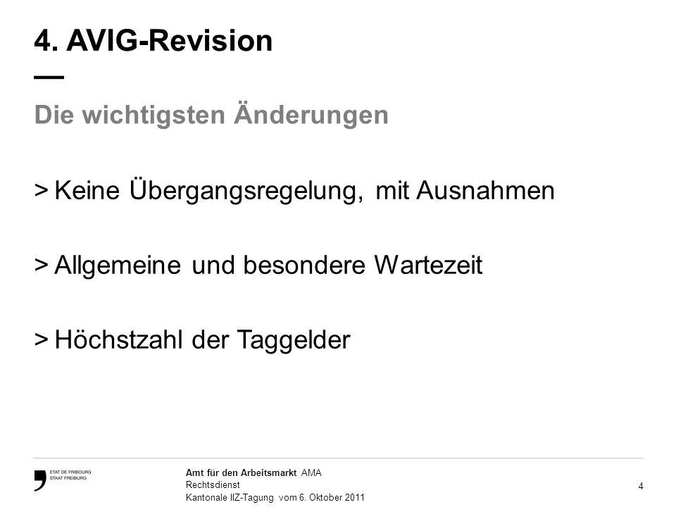 4 Amt für den Arbeitsmarkt AMA Rechtsdienst Kantonale IIZ-Tagung vom 6.