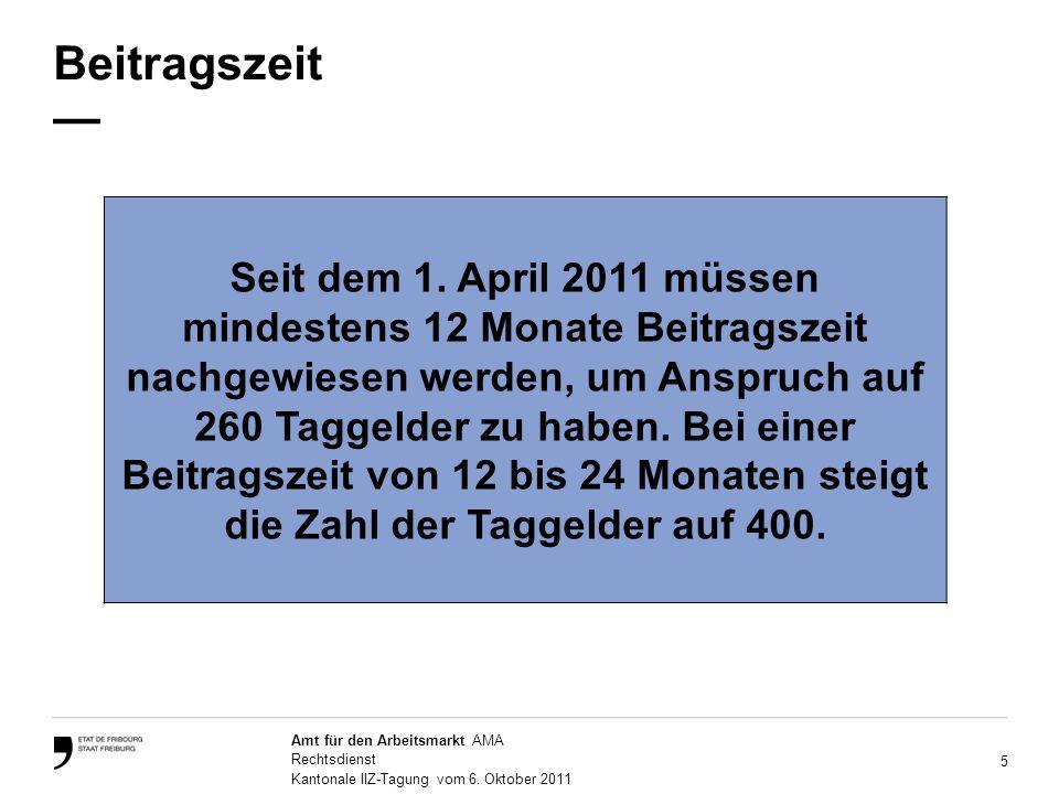 5 Amt für den Arbeitsmarkt AMA Rechtsdienst Kantonale IIZ-Tagung vom 6.