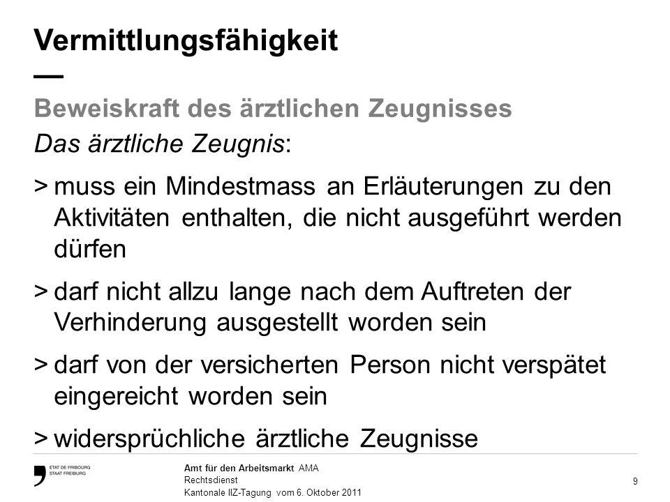 9 Amt für den Arbeitsmarkt AMA Rechtsdienst Kantonale IIZ-Tagung vom 6.