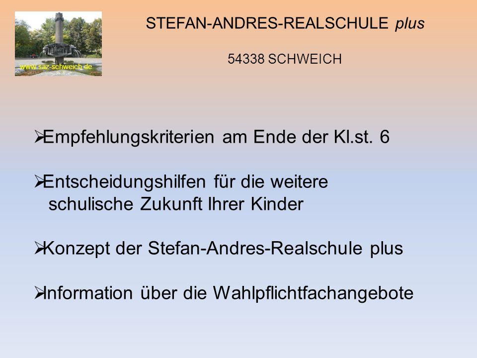 www.saz-schweich.de STEFAN-ANDRES-REALSCHULE plus 54338 SCHWEICH Empfehlungskriterien am Ende der Kl.st. 6 Entscheidungshilfen für die weitere schulis