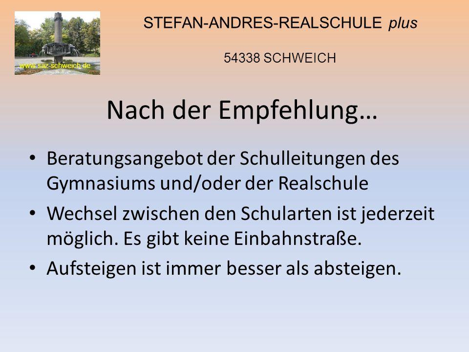 www.saz-schweich.de STEFAN-ANDRES-REALSCHULE plus 54338 SCHWEICH Nach der Empfehlung… Beratungsangebot der Schulleitungen des Gymnasiums und/oder der