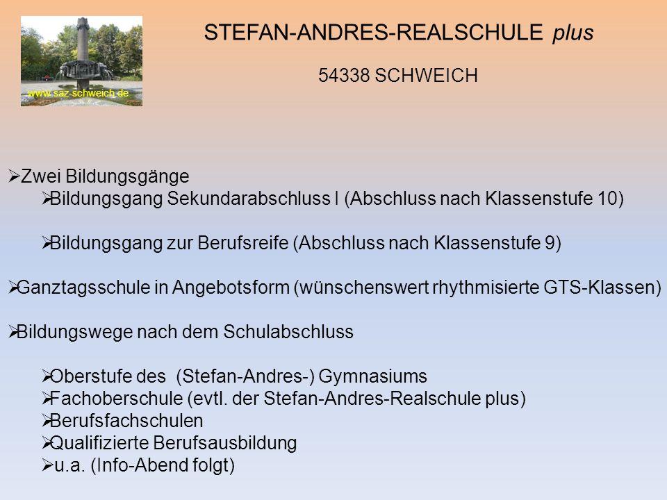 www.saz-schweich.de STEFAN-ANDRES-REALSCHULE plus 54338 SCHWEICH Zwei Bildungsgänge Bildungsgang Sekundarabschluss I (Abschluss nach Klassenstufe 10)