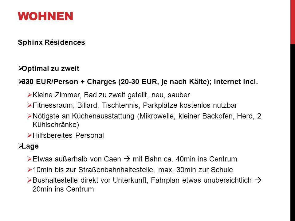 WOHNEN Sphinx Résidences Optimal zu zweit 330 EUR/Person + Charges (20-30 EUR, je nach Kälte); Internet incl. Kleine Zimmer, Bad zu zweit geteilt, neu