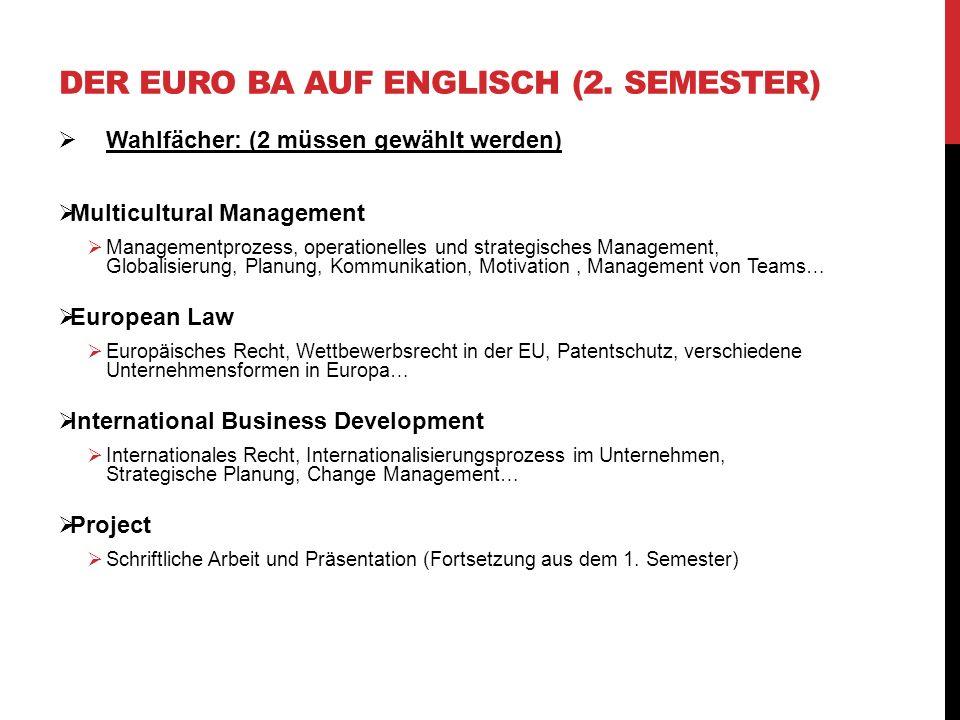 Wahlfächer: (2 müssen gewählt werden) Multicultural Management Managementprozess, operationelles und strategisches Management, Globalisierung, Planung
