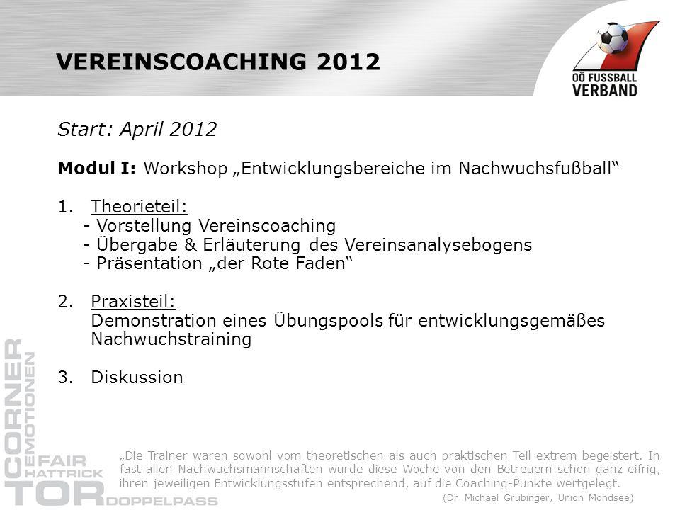VEREINSCOACHING 2012 Start: April 2012 Modul I: Workshop Entwicklungsbereiche im Nachwuchsfußball 1. Theorieteil: - Vorstellung Vereinscoaching - Über