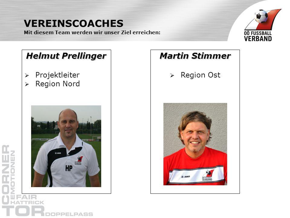 VEREINSCOACHES Mit diesem Team werden wir unser Ziel erreichen: Helmut Prellinger Projektleiter Region Nord Martin Stimmer Region Ost