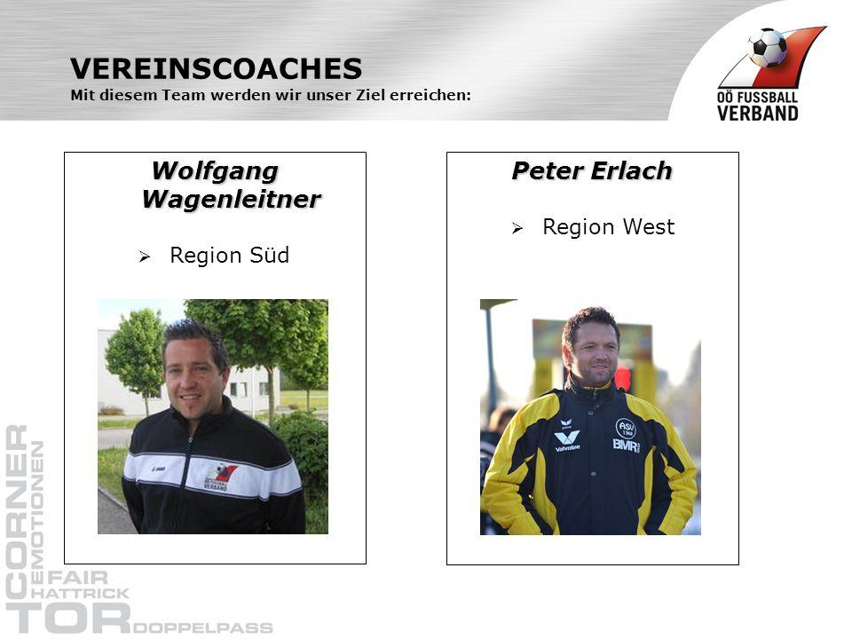 VEREINSCOACHES Mit diesem Team werden wir unser Ziel erreichen: Wolfgang Wagenleitner Region Süd Peter Erlach Region West