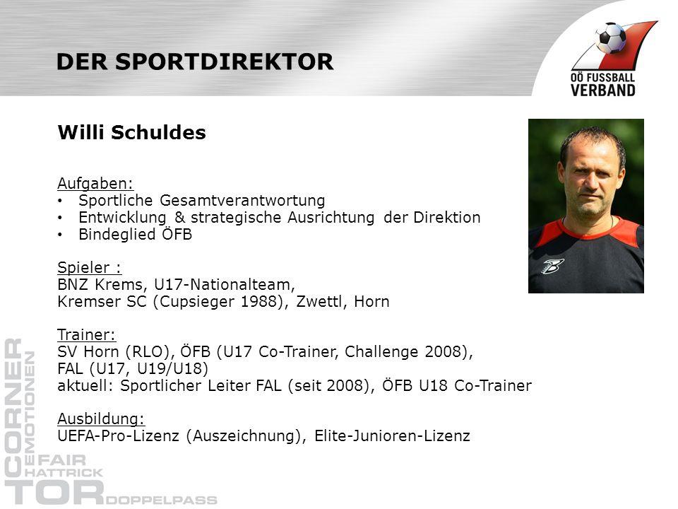 DER SPORTDIREKTOR Willi Schuldes Aufgaben: Sportliche Gesamtverantwortung Entwicklung & strategische Ausrichtung der Direktion Bindeglied ÖFB Spieler : BNZ Krems, U17-Nationalteam, Kremser SC (Cupsieger 1988), Zwettl, Horn Trainer: SV Horn (RLO), ÖFB (U17 Co-Trainer, Challenge 2008), FAL (U17, U19/U18) aktuell: Sportlicher Leiter FAL (seit 2008), ÖFB U18 Co-Trainer Ausbildung: UEFA-Pro-Lizenz (Auszeichnung), Elite-Junioren-Lizenz