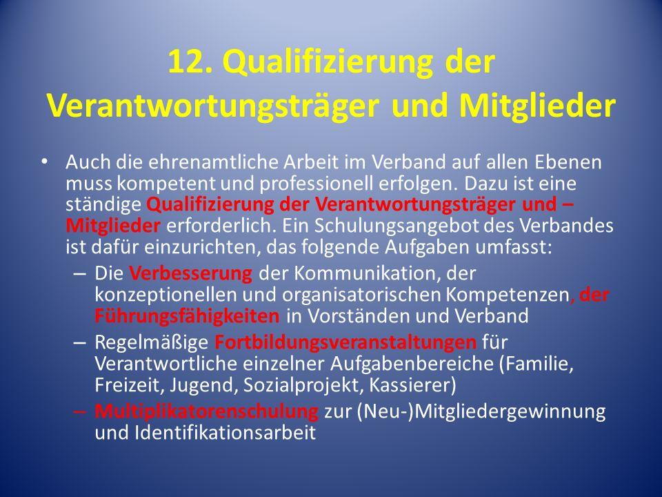 12. Qualifizierung der Verantwortungsträger und Mitglieder Auch die ehrenamtliche Arbeit im Verband auf allen Ebenen muss kompetent und professionell