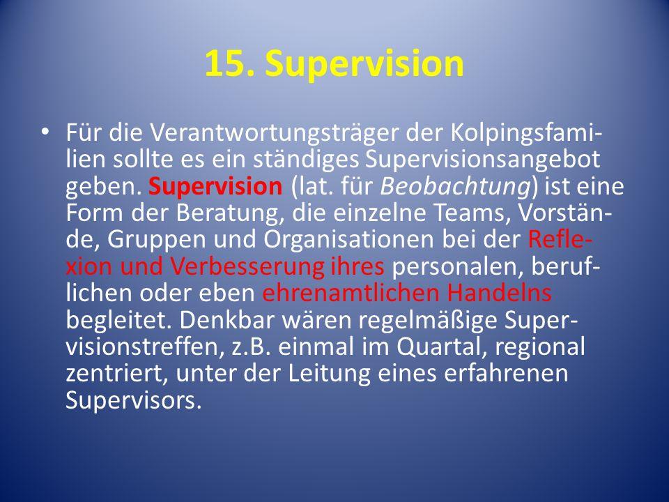 15. Supervision Für die Verantwortungsträger der Kolpingsfami- lien sollte es ein ständiges Supervisionsangebot geben. Supervision (lat. für Beobachtu