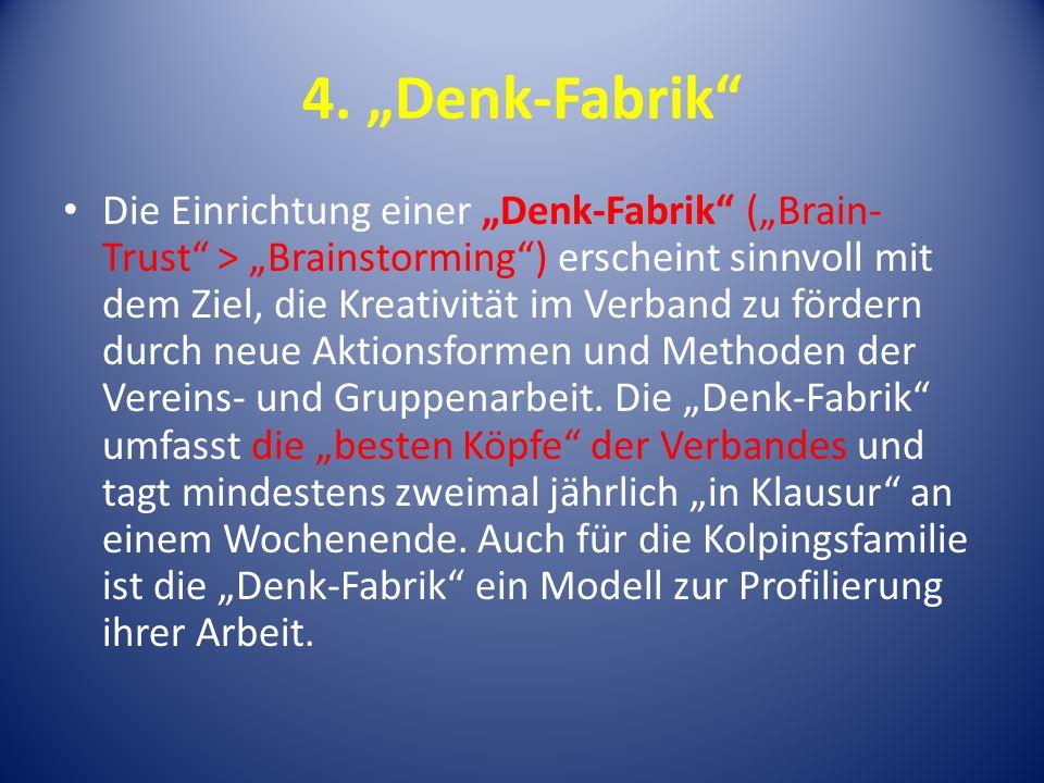 4. Denk-Fabrik Die Einrichtung einer Denk-Fabrik (Brain- Trust > Brainstorming) erscheint sinnvoll mit dem Ziel, die Kreativität im Verband zu fördern