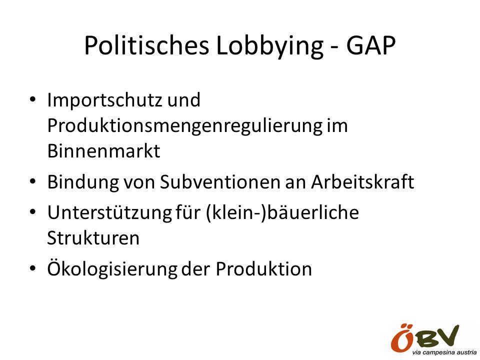 Politisches Lobbying - GAP Importschutz und Produktionsmengenregulierung im Binnenmarkt Bindung von Subventionen an Arbeitskraft Unterstützung für (klein-)bäuerliche Strukturen Ökologisierung der Produktion