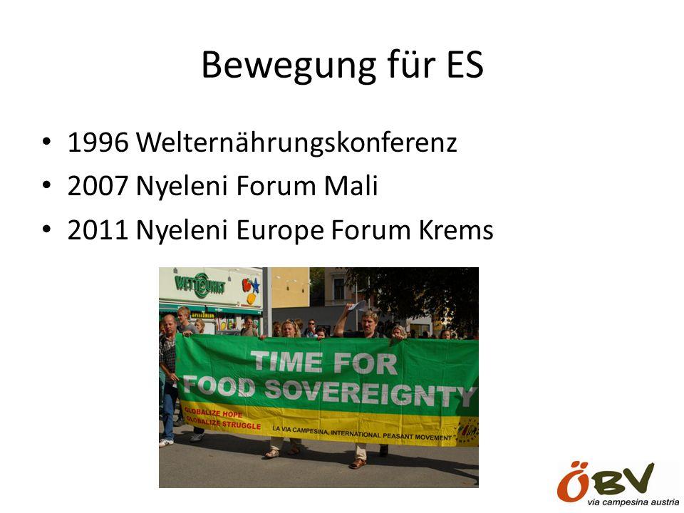 Bewegung für ES 1996 Welternährungskonferenz 2007 Nyeleni Forum Mali 2011 Nyeleni Europe Forum Krems