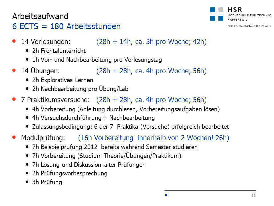 11 Arbeitsaufwand 6 ECTS = 180 Arbeitsstunden 14 Vorlesungen: (28h + 14h, ca. 3h pro Woche; 42h) 2h Frontalunterricht 1h Vor- und Nachbearbeitung pro
