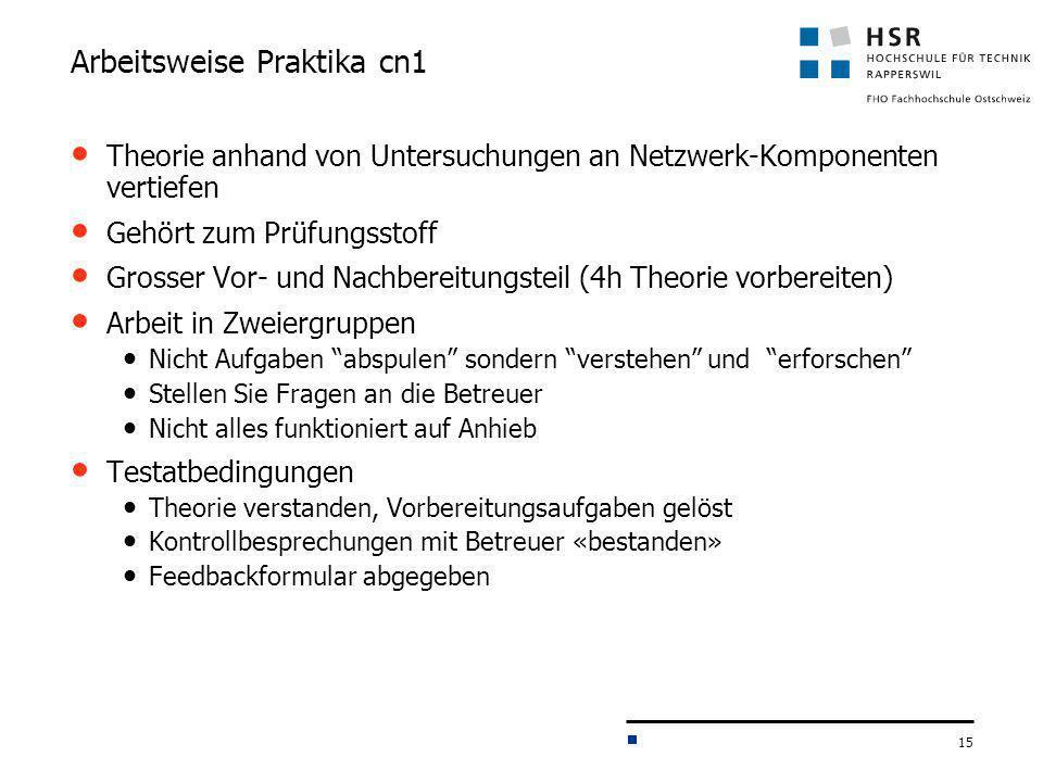 15 Arbeitsweise Praktika cn1 Theorie anhand von Untersuchungen an Netzwerk-Komponenten vertiefen Gehört zum Prüfungsstoff Grosser Vor- und Nachbereitu