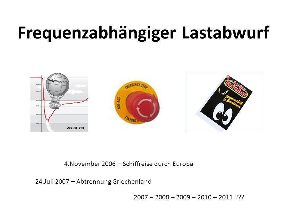Frequenzabhängiger Lastabwurf Quelle: ewz 24.Juli 2007 – Abtrennung Griechenland 4.November 2006 – Schiffreise durch Europa 2007 – 2008 – 2009 – 2010 – 2011