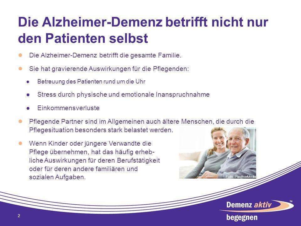 Die Alzheimer-Demenz betrifft nicht nur den Patienten selbst Die Alzheimer-Demenz betrifft die gesamte Familie. Sie hat gravierende Auswirkungen für d