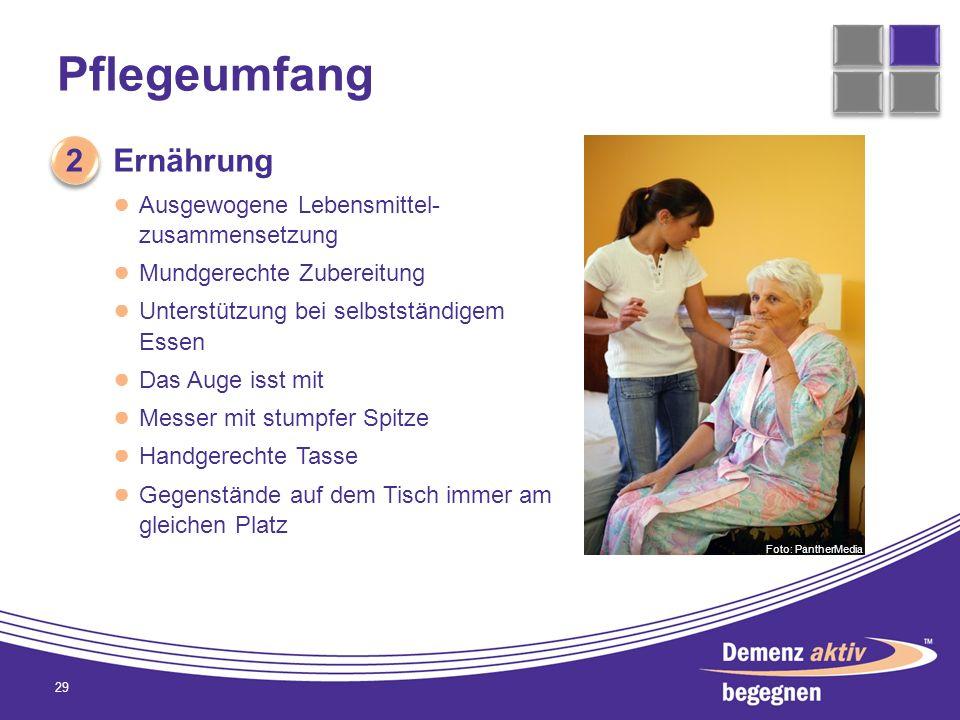 Pflegeumfang 29 2 2 Ernährung Ausgewogene Lebensmittel- zusammensetzung Mundgerechte Zubereitung Unterstützung bei selbstständigem Essen Das Auge isst