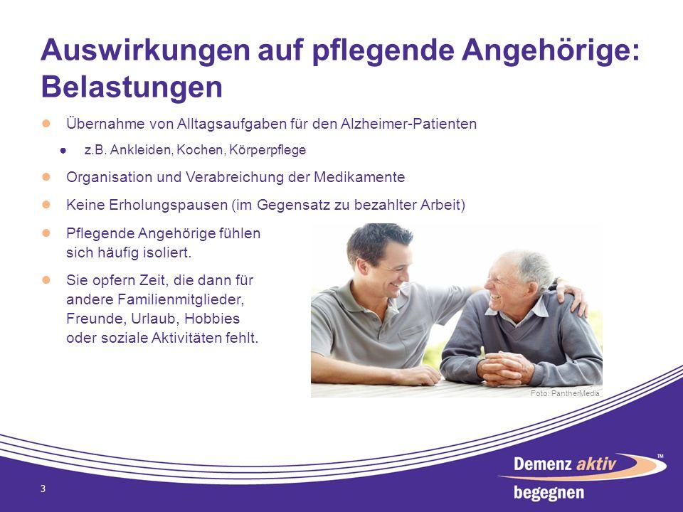 Auswirkungen auf pflegende Angehörige: Belastungen Übernahme von Alltagsaufgaben für den Alzheimer-Patienten z.B. Ankleiden, Kochen, Körperpflege Orga