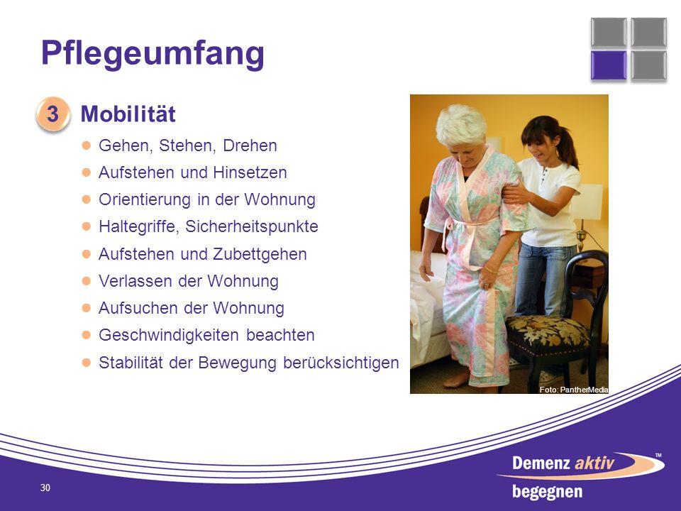 Pflegeumfang 30 3 3 Mobilität Gehen, Stehen, Drehen Aufstehen und Hinsetzen Orientierung in der Wohnung Haltegriffe, Sicherheitspunkte Aufstehen und Z