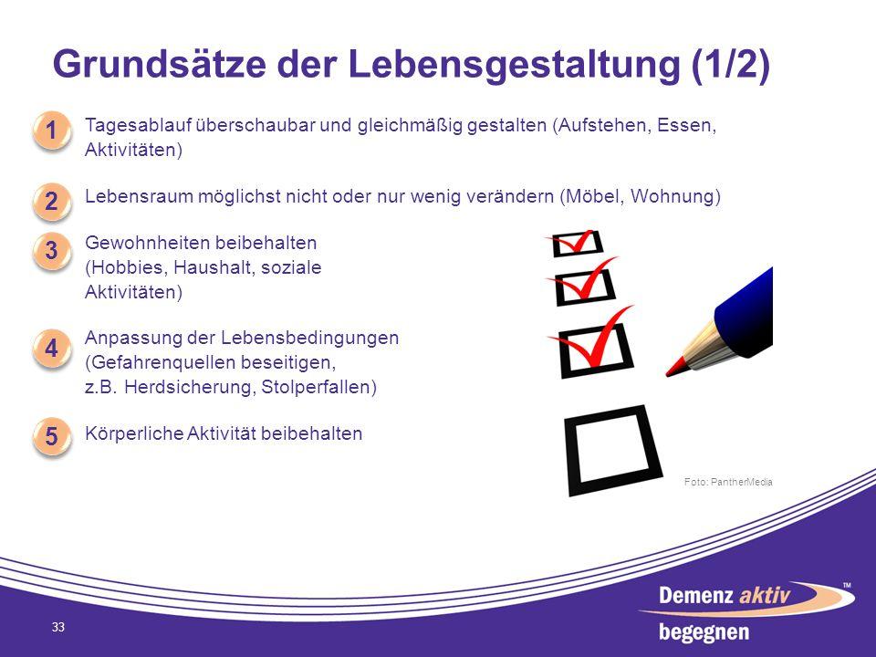 Grundsätze der Lebensgestaltung (1/2) Tagesablauf überschaubar und gleichmäßig gestalten (Aufstehen, Essen, Aktivitäten) Lebensraum möglichst nicht od