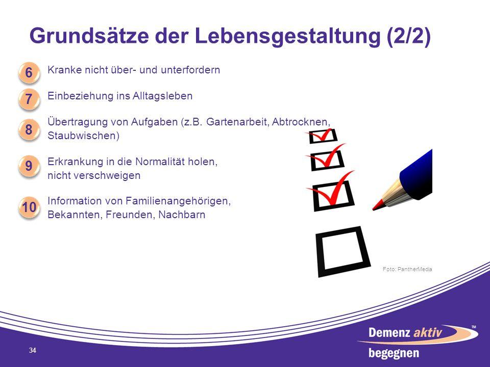 Grundsätze der Lebensgestaltung (2/2) Kranke nicht über- und unterfordern Einbeziehung ins Alltagsleben Übertragung von Aufgaben (z.B. Gartenarbeit, A