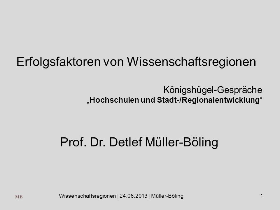 Wissenschaftsregionen | 24.06.2013 | Müller-Böling1 Erfolgsfaktoren von Wissenschaftsregionen Königshügel-Gespräche Hochschulen und Stadt-/Regionalentwicklung Prof.