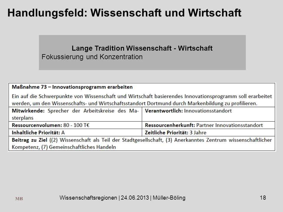 Wissenschaftsregionen | 24.06.2013 | Müller-Böling18 Handlungsfeld: Wissenschaft und Wirtschaft Lange Tradition Wissenschaft - Wirtschaft Fokussierung und Konzentration