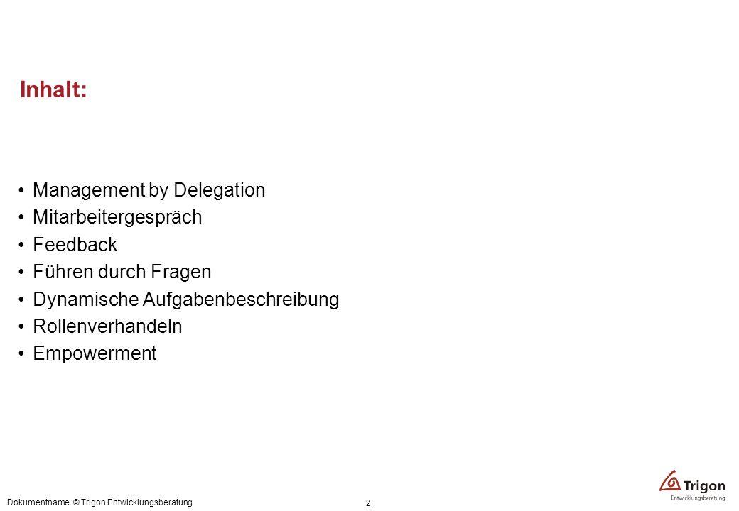 Inhalt: Management by Delegation Mitarbeitergespräch Feedback Führen durch Fragen Dynamische Aufgabenbeschreibung Rollenverhandeln Empowerment Dokumen