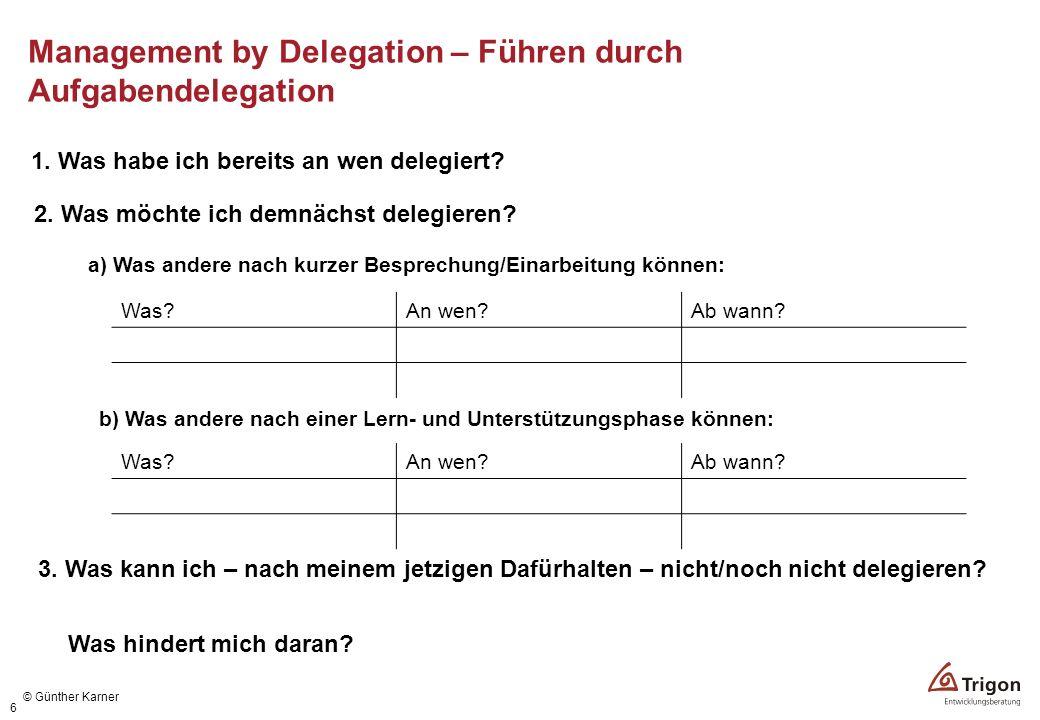 6 Was?An wen?Ab wann? 1. Was habe ich bereits an wen delegiert? 2. Was möchte ich demnächst delegieren? a) Was andere nach kurzer Besprechung/Einarbei