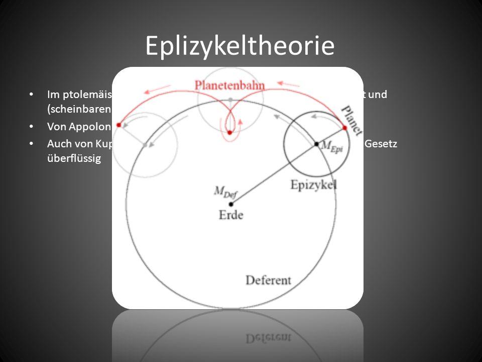 Eplizykeltheorie Im ptolemäischen Weltsystem zur Erklärung von Geschwindigkeit und (scheinbaren) Bewegungen eingeführt Von Appolonios von Perge, Ende