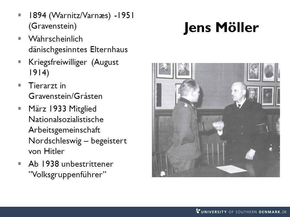 Jens Möller 1894 (Warnitz/Varnæs) -1951 (Gravenstein) Wahrscheinlich dänischgesinntes Elternhaus Kriegsfreiwilliger (August 1914) Tierarzt in Gravenst