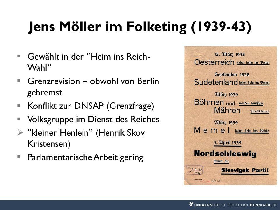 Jens Möller im Folketing (1939-43) Gewählt in der Heim ins Reich- Wahl Grenzrevision – obwohl von Berlin gebremst Konflikt zur DNSAP (Grenzfrage) Volk