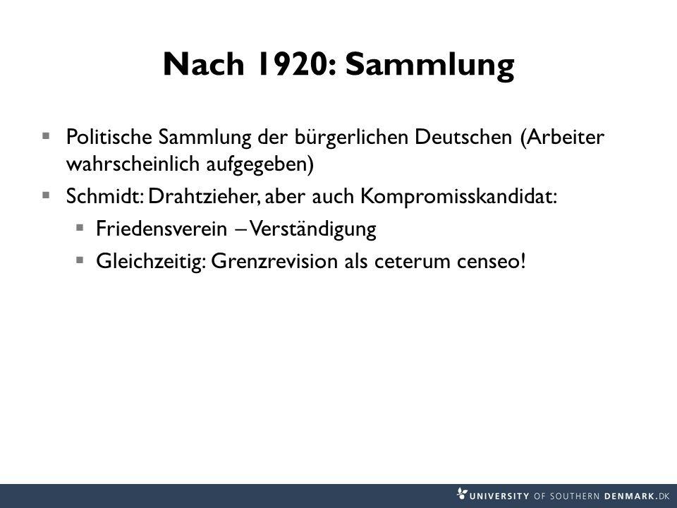 Nach 1920: Sammlung Politische Sammlung der bürgerlichen Deutschen (Arbeiter wahrscheinlich aufgegeben) Schmidt: Drahtzieher, aber auch Kompromisskandidat: Friedensverein – Verständigung Gleichzeitig: Grenzrevision als ceterum censeo!