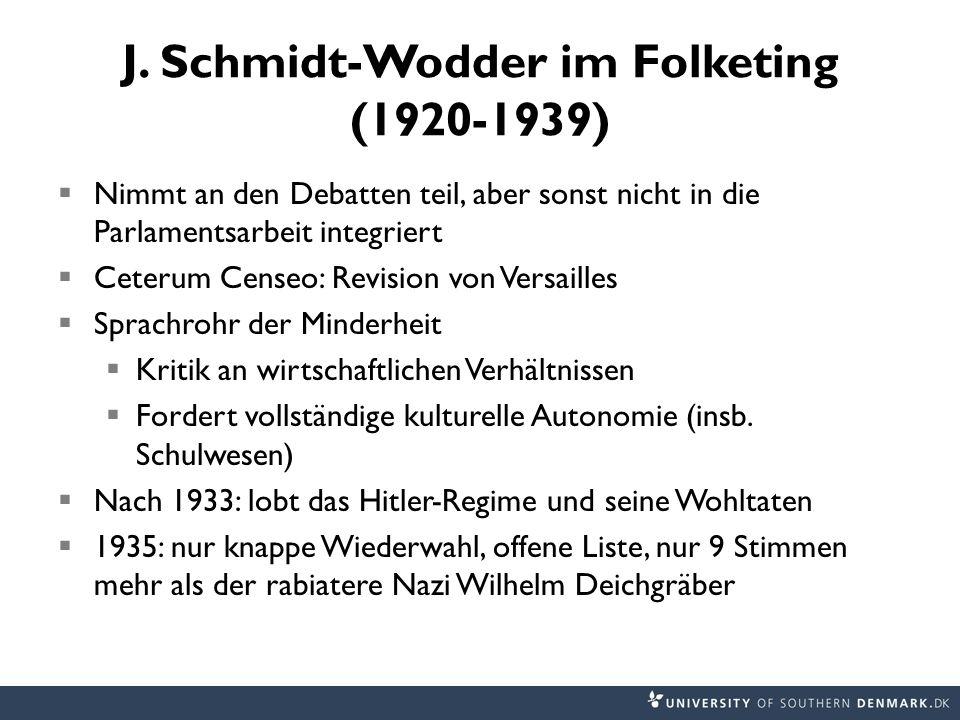 J. Schmidt-Wodder im Folketing (1920-1939) Nimmt an den Debatten teil, aber sonst nicht in die Parlamentsarbeit integriert Ceterum Censeo: Revision vo