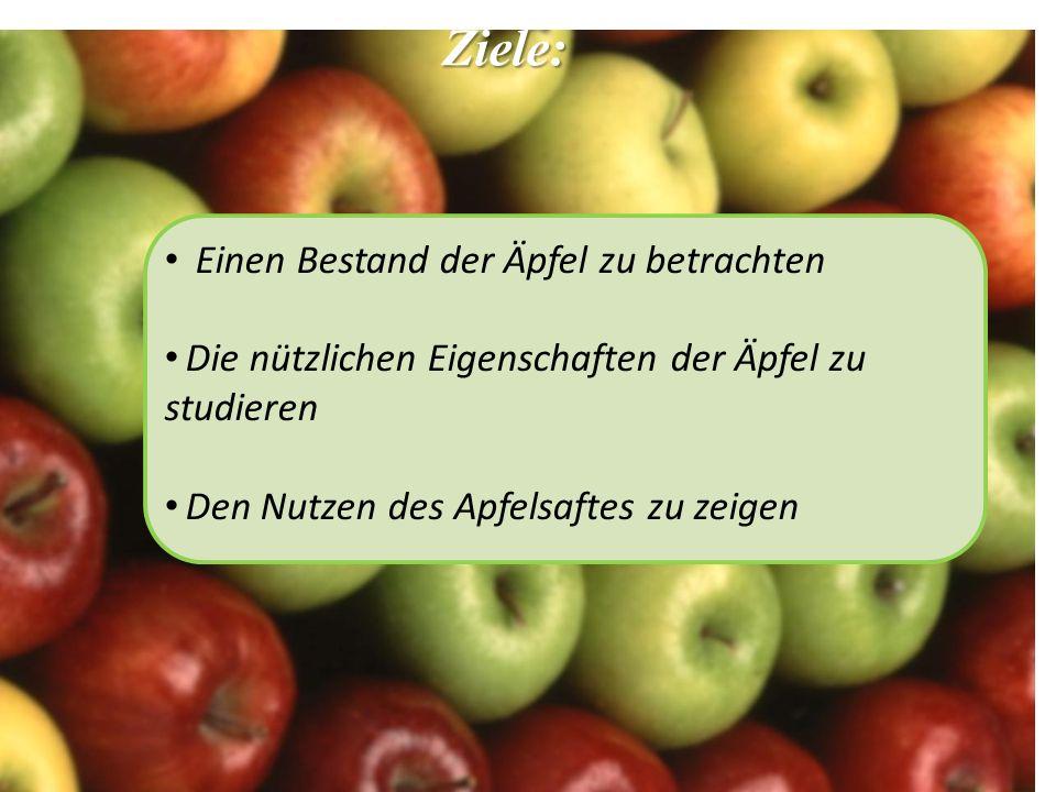 Ziele: Einen Bestand der Äpfel zu betrachten Die nützlichen Eigenschaften der Äpfel zu studieren Den Nutzen des Apfelsaftes zu zeigen