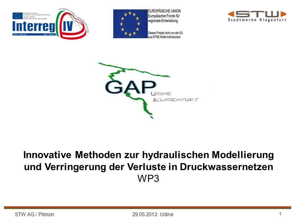 STW AG / Plimon 29.05.2013 Udine 1 Innovative Methoden zur hydraulischen Modellierung und Verringerung der Verluste in Druckwassernetzen WP3
