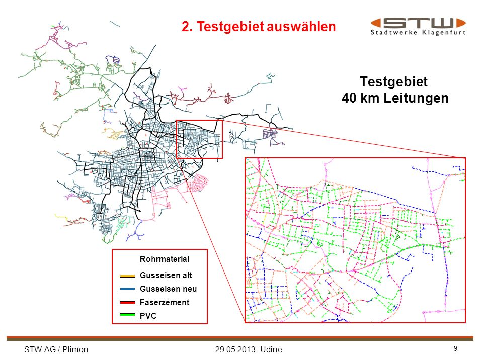 STW AG / Plimon 29.05.2013 Udine 9 Testgebiet 40 km Leitungen Rohrmaterial Gusseisen alt Gusseisen neu Faserzement PVC 2. Testgebiet auswählen