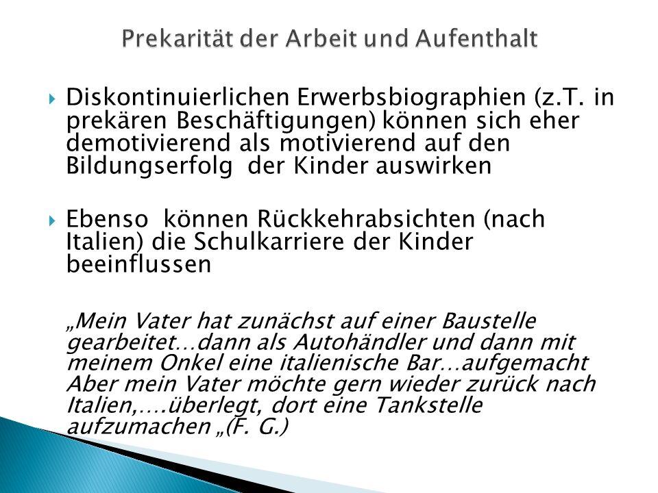 Diskontinuierlichen Erwerbsbiographien (z.T.