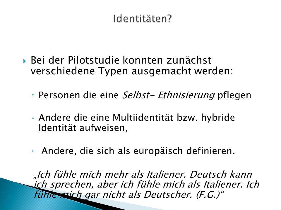 Bei der Pilotstudie konnten zunächst verschiedene Typen ausgemacht werden: Personen die eine Selbst- Ethnisierung pflegen Andere die eine Multiidentität bzw.