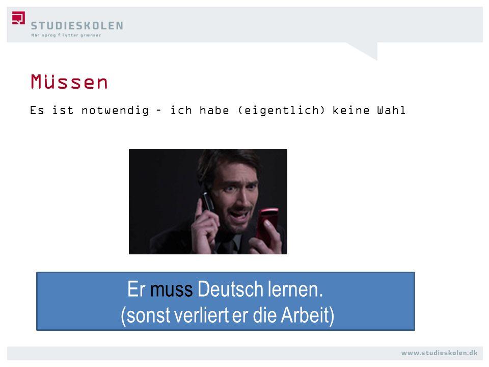 Müssen Es ist notwendig – ich habe (eigentlich) keine Wahl Er muss Deutsch lernen. (sonst verliert er die Arbeit)