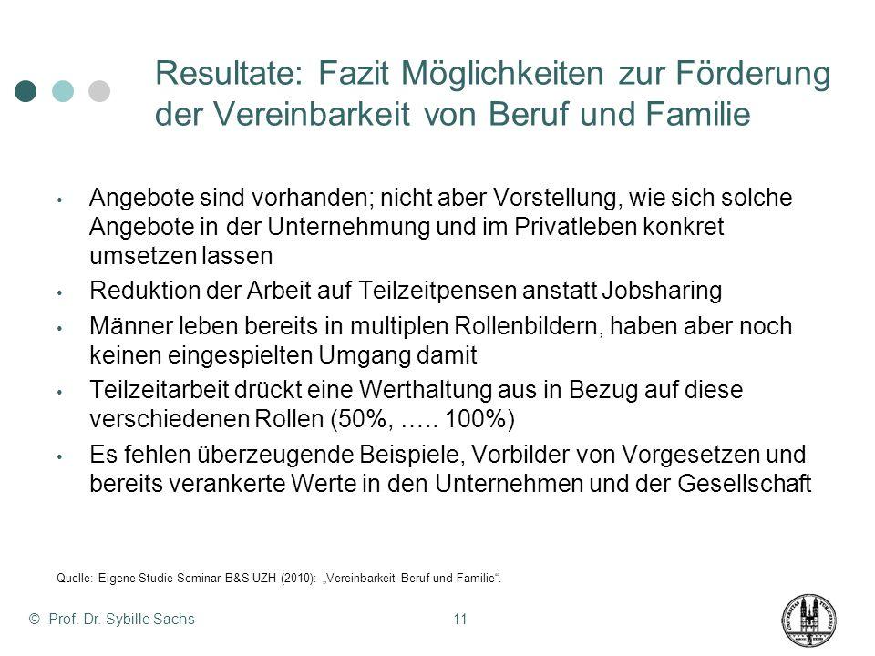 © Prof. Dr. Sybille Sachs11 Resultate: Fazit Möglichkeiten zur Förderung der Vereinbarkeit von Beruf und Familie Angebote sind vorhanden; nicht aber V