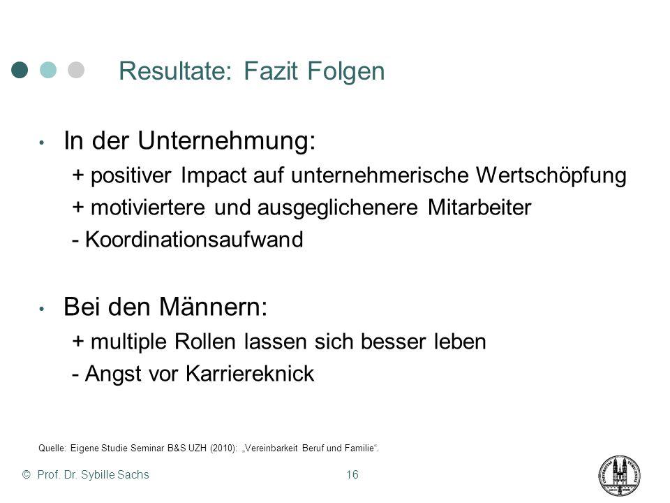 © Prof. Dr. Sybille Sachs16 Resultate: Fazit Folgen In der Unternehmung: + positiver Impact auf unternehmerische Wertschöpfung + motiviertere und ausg