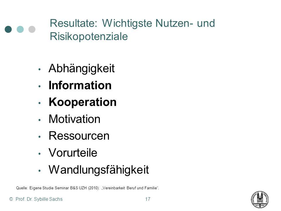 © Prof. Dr. Sybille Sachs17 Resultate: Wichtigste Nutzen- und Risikopotenziale Abhängigkeit Information Kooperation Motivation Ressourcen Vorurteile W