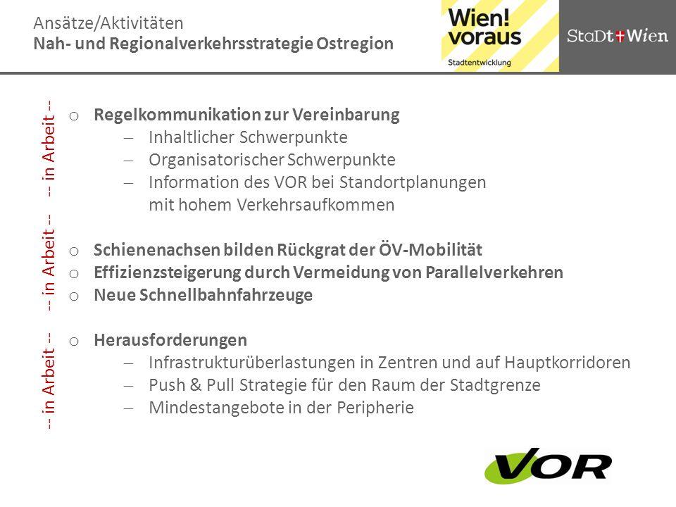 Ansätze/Aktivitäten Nah- und Regionalverkehrsstrategie Ostregion o Regelkommunikation zur Vereinbarung Inhaltlicher Schwerpunkte Organisatorischer Sch
