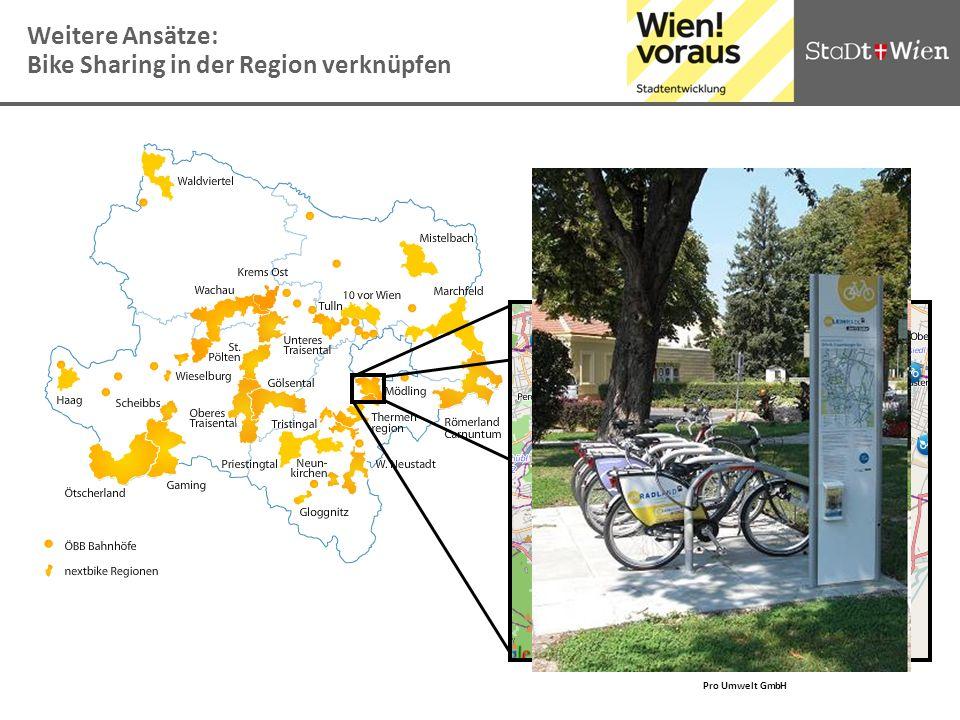 Pro Umwelt GmbH Weitere Ansätze: Bike Sharing in der Region verknüpfen